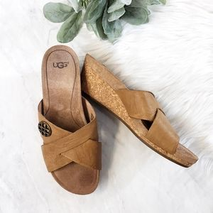 Ugg Lyra Crisscross Leather Cork Wedge Sandal